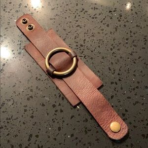 Genuine leather cuff bracelet